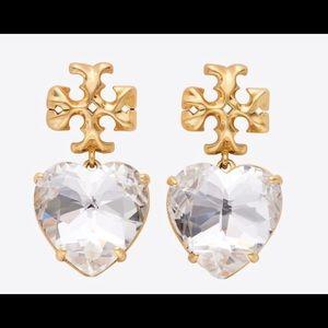 Tory Burch Roxanne Heart Earrings Clear